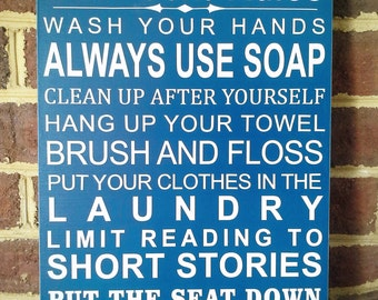 Bathroom Rules Typography Scripture Quote Wall Hanging Word Board Art