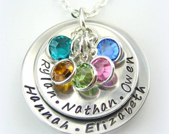 Mom handstamped personalized jewelry necklace mothers day with 5 Swarovski birthstone charms