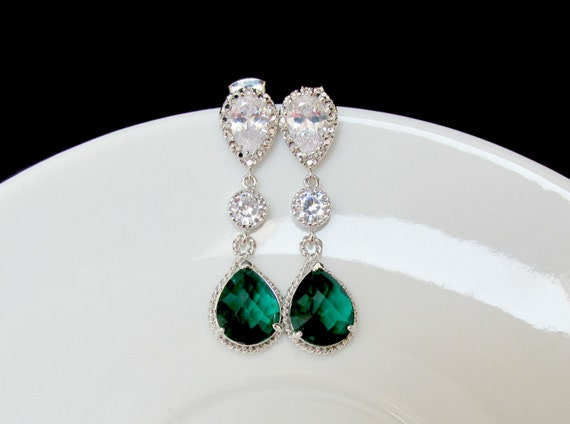 set of emerald bridal set , sterling emerald necklace , emerald bracelet , zirconia emerald set , emerald bridesmaids jewelry , weddings