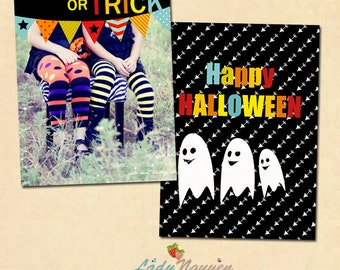 INSTANT DOWNLOAD 5x7 Halloween Card Template - CA131