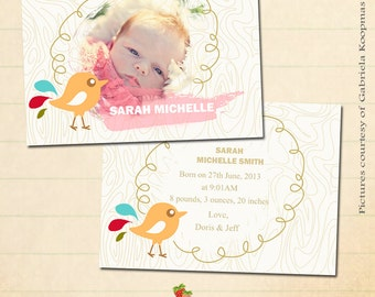 INSTANT DOWNLOAD 5x7 Birth Announcement Photoshop Card Template- CA138