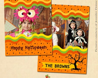 INSTANT DOWNLOAD 5x7 Halloween Card Template - CA119