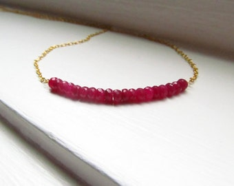 Ruby necklace genuine July birthstone bar necklace gold chain rondelles sparkle