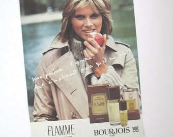 Bourjois Flamme Vintage Perfume Ad, 1970s French Advertising, 70s Magazine Advert