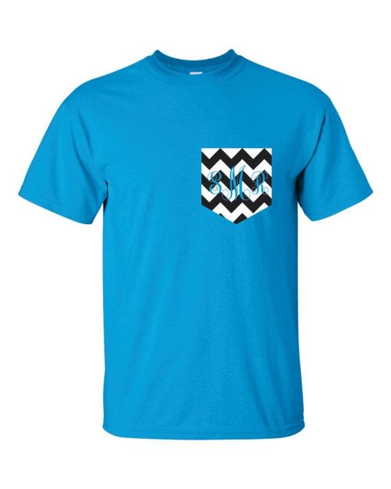 monogram pocket tee chevron pocket t shirt tshirt monogrammed