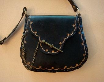 Kim Black Tooled Leather Crossbody Bag - Shoulder Bag - Purse - Handbag - Fleur de Lis