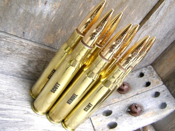 7 Groomsmen Gift Pack Brass Engraved .50 Caliber Personalized Bottle Openers. Father of the Bride Gift. Best Man Gift. Groom Gift