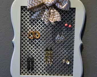 Jewelry Organizer Wall Hanging Earrings White Chevron