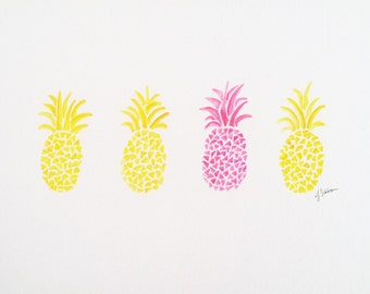 Original Pineapple Watercolor Painting, Pineapple Art, Tropical Wall Decor, Kids Nursery Art, Fruit Wall Decor, Abstract Pineapple