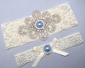 White / Ivory Lace Bridal Garter Set, Something Blue Wedding Garter, Crystal Rhinestone Keepsake / Toss Heirloom Garter, Blue Garter
