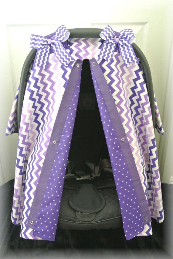 car seat cover car seat canopy chevron purple by jaydenandolivia. Black Bedroom Furniture Sets. Home Design Ideas