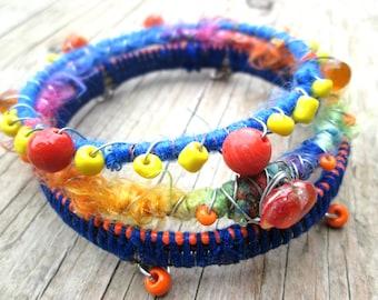 Fiber Wrapped Bangles, Bohemian Bangles, Wire Wrapped Bangles, Bohemian Jewelry, Colorful Boho Bracelets, Stacking Bracelets, Hippie Gypsy