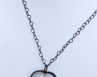 Agate Heart Pendant on Open Heart Silver Chain with Antique Finish