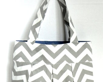 Pleated Hand Bag, purse or diaper bag in gray and white chevron with blue lining- two pockets.