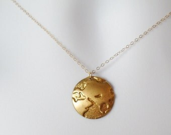 Globe necklace etsy gold globe necklace gold round 12 globe charm necklace european gold necklace mozeypictures Gallery