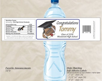Graduation Stickers, Water Bottle Labels, Football Stickers, Graduation Party, Football birthday party, football player (Set of 20)(Y171)