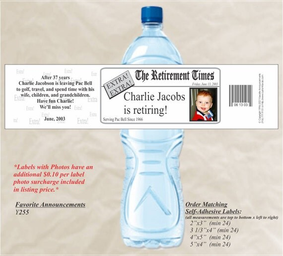 Water Bottle Label Retirement Party Ideas Birthday