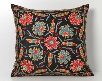suzani pillow black floral pillow decorative pillow floral pillow throw pillow housewares accent pillow cover black