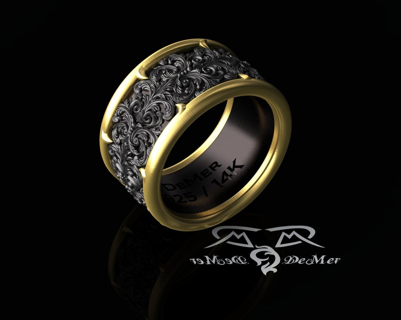Ornate 14kt And Black Wide Mens Band Ring Detailed Damask In