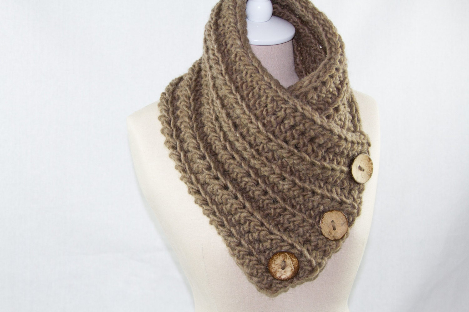 Crochet Scarf Pattern With Button : Crochet Button Scarf / Cowl / Neck Warmer by ElsieRaeBoutique