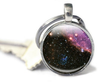Space Keyring, Astronomy, Galaxy, Stars, Planets, Space Glass keychain, space lover science, physics Keyring (KS20)