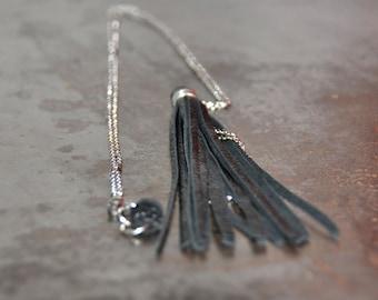 Black leather tassel necklace - leather tassel necklace - boho necklace, long necklace, indie jewelry, long tassel necklace, long pendant