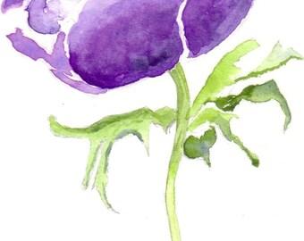 Blue Anemone Flower Watercolor Giclee Print, Floral Watercolour Artwork,