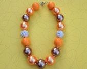 Chunky Bubblegum Necklace, Pearl Orange, Brown, Fall Fashion, Toddler, Girls, Birthday Gift, Photo Prop