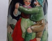 Vintage German Beer Stein Lidded Dancing Couple Earthenware Relief
