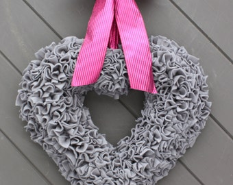 Grey Heart Wreath, Heart Wreath, Rag Wreath, Valentines Wreath, Fabric Wreath, Modern Wreath, Valentine's Day, Baby Nursery, Wall Decoration