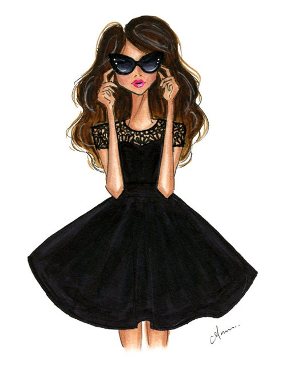Fashion Illustration Print Black Flare Dress by anumt on Etsy