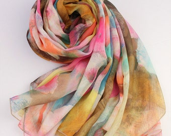 Floral Printed Silk Chiffon Scarf - Silk Scarf with Abstract Floral Print - AS45