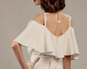 Veronica two piece unique wedding dress ensemble in ivory glamorous 30's Hollywood vintage inspired