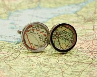 Personalised Original Vintage  Map Cufflinks - Perfect for weddings, anniversaries or birthdays