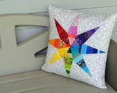 "Rainbow and White Star 20"" Throw Pillow Cover"