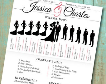 Wedding program with wedding party silhouettes digital wedding program with wedding party silhouettes and big day timeline digital printable file pronofoot35fo Image collections