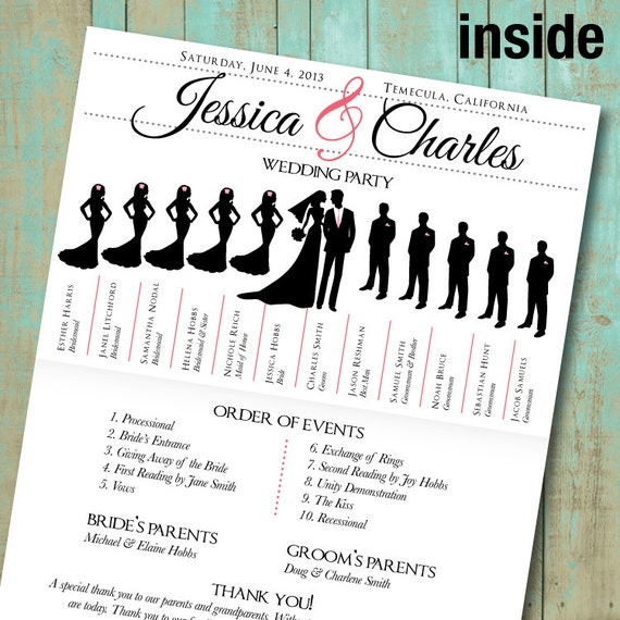 wedding program with wedding party silhouettes and big day. Black Bedroom Furniture Sets. Home Design Ideas