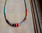 Long ethnic beaded necklace, tribal/boho necklace, seed beads