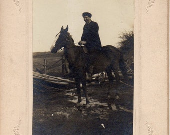 Antique Photo of Man on Horse