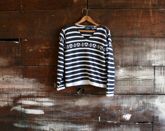 vintage 90s nautical striped navy sweater