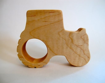Wood Toy -  Tractor Teether- organic, safe and natural for baby