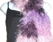 Long Faux Fur Crochet Scarf, Fun Fur, Eyelash Yarn, Purple Plum, Scarves for Women Handmade in USA