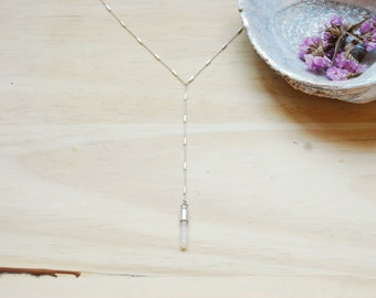 Just a Memory Quartz Crystal Lariat Necklace - Silver