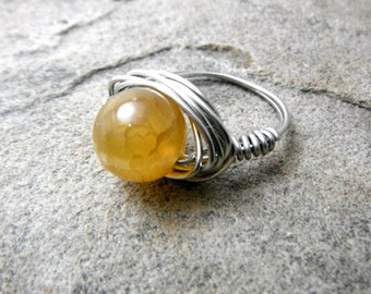 Fire Agate Ring, Yellow Agate Ring, Wire Wrapped Ring, Yellow Ring, Wire Wrapped Jewelry Handmade, Yellow Stone Ring, Agate Jewelry