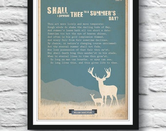 Shakespeare poster, Shall I compare thee, Wall art, Poetry art, Wall decor, Sonnet poster, Quote poster