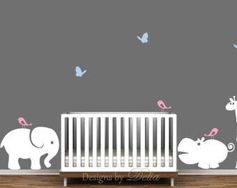 Nursery Wall Decals With Elephant, Hippo, Giraffe, Birds, And Butterflies