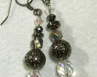 "Cynthia Lynn ""STARBURST"" Aurora Borealis Czech Crystal Hematite Gunmetal Black Earrings  2"""