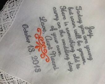 JUNIOR BRIDESMAID Flower Girl Wedding Handkerchief - Keepsake Hanky