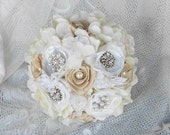 "Brooch Bouquet, Bridal, Wedding, Rhinestone, Vintage, Ivory, White, 8"" Romantic, Bridesmaid, Fabric Flower, broche Bouquet, Lace, Pearl"