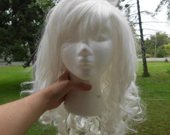Pony wig Unicorn Costume White Wig White Ears Cat, Kitty, Horse, Long Curly My Little Pony Cosplay Mlp Side Swept Bangs